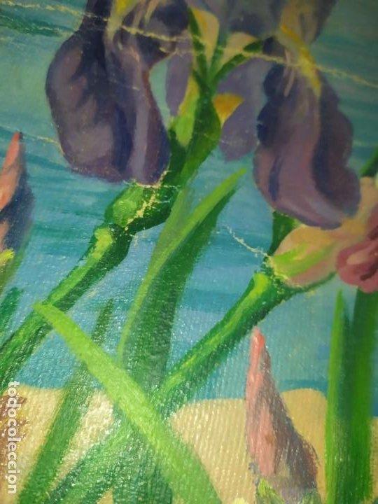 Varios objetos de Arte: LOTE ANTIGUOS ÓLEO SOBRE LIENZO FLORES SOBRE PAISAJE COSTA ISLA PRECIOSOS AÑOS 40 FIRMADOS P.YSLA - Foto 12 - 195210358