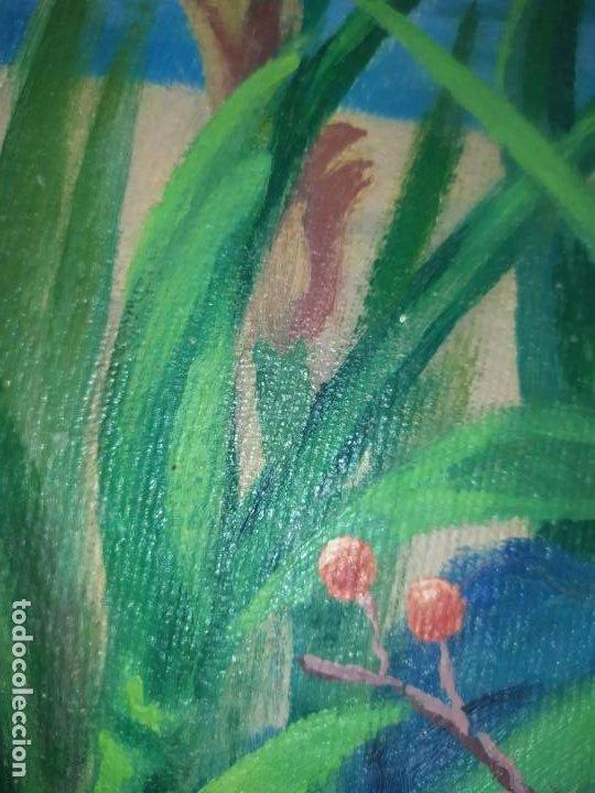 Varios objetos de Arte: LOTE ANTIGUOS ÓLEO SOBRE LIENZO FLORES SOBRE PAISAJE COSTA ISLA PRECIOSOS AÑOS 40 FIRMADOS P.YSLA - Foto 13 - 195210358