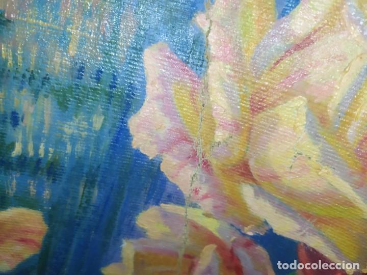 Varios objetos de Arte: LOTE ANTIGUOS ÓLEO SOBRE LIENZO FLORES SOBRE PAISAJE COSTA ISLA PRECIOSOS AÑOS 40 FIRMADOS P.YSLA - Foto 19 - 195210358