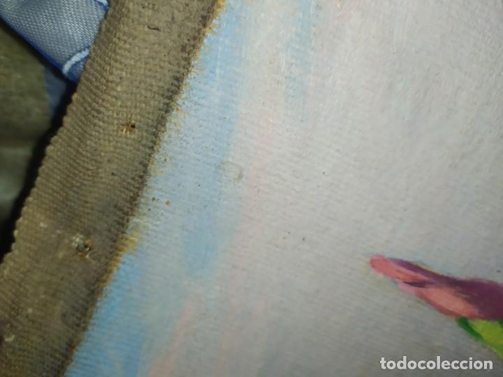 Varios objetos de Arte: LOTE ANTIGUOS ÓLEO SOBRE LIENZO FLORES SOBRE PAISAJE COSTA ISLA PRECIOSOS AÑOS 40 FIRMADOS P.YSLA - Foto 25 - 195210358