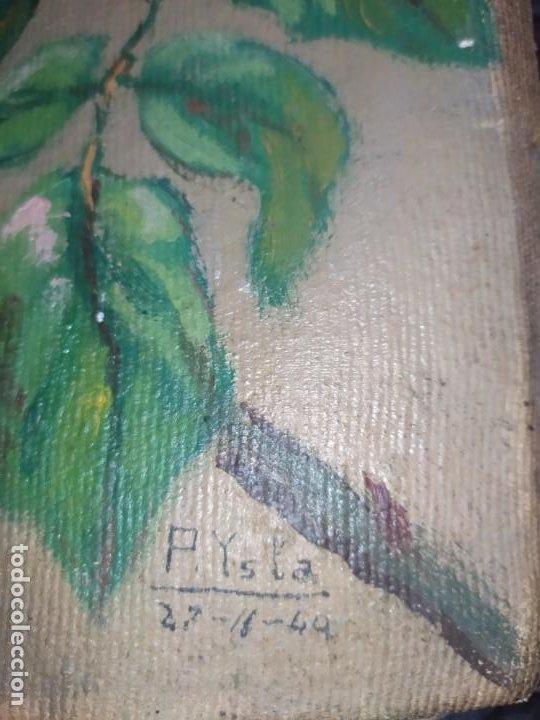 Varios objetos de Arte: LOTE ANTIGUOS ÓLEO SOBRE LIENZO FLORES SOBRE PAISAJE COSTA ISLA PRECIOSOS AÑOS 40 FIRMADOS P.YSLA - Foto 28 - 195210358