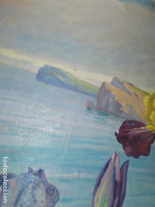 Varios objetos de Arte: LOTE ANTIGUOS ÓLEO SOBRE LIENZO FLORES SOBRE PAISAJE COSTA ISLA PRECIOSOS AÑOS 40 FIRMADOS P.YSLA - Foto 37 - 195210358