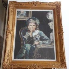 Varios objetos de Arte: RETRATO DE MUJER JOVEN ORIGINAL VINTAGE ENMARCADO Y FIRMADO PINTURA DE ACRÍLICO. Lote 195433652