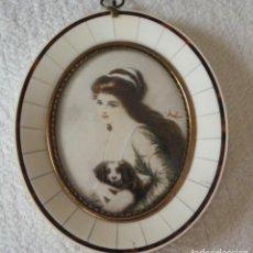 Varios objetos de Arte: MINIATURA PINTADA A MANO. FIRMADA. CON MARCO ORIGINAL, SIN ABRIR. BUEN ESTADO.. Lote 195474211