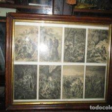 Varios objetos de Arte: RARISIMO Y ANTIGUO CUADRO CON GRABADOS H. M. SOBRE CAZA OESTE INDIOS TRAMPEROS FAR WEST. Lote 195629871