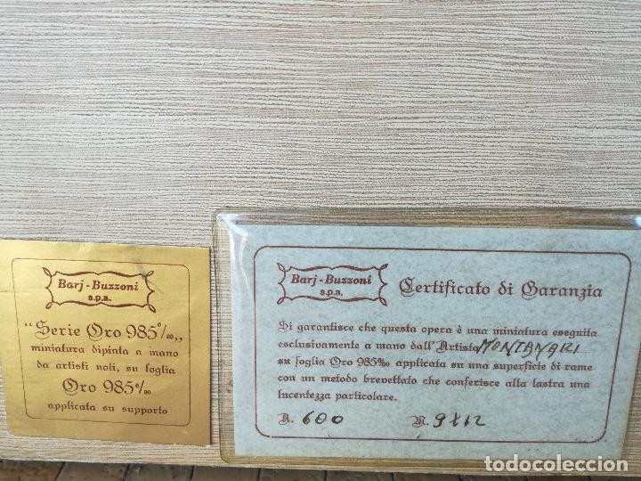 Varios objetos de Arte: MINIATURA PINTADA A MANO SOBRE LAMINA DE ORO 985 DEL PRESTIGIOSO ARTISTA ITALIANO MONTANARI - Foto 4 - 196313242