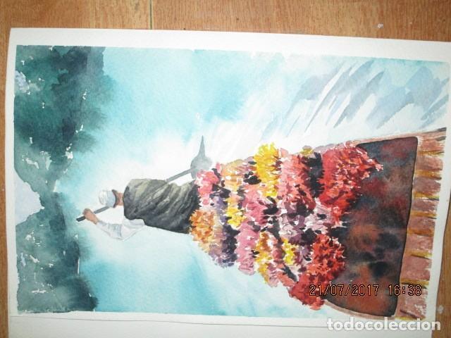 Varios objetos de Arte: PINTURA ORIGINAL ACUARELA barcaza con flores y tendero remero - Foto 2 - 197083257