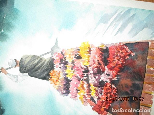 Varios objetos de Arte: PINTURA ORIGINAL ACUARELA barcaza con flores y tendero remero - Foto 3 - 197083257