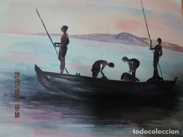 PINURA ORIGINAL ACUARELA BARCO CON PESCADORES AFRICANOS (Arte - Varios Objetos de Arte)