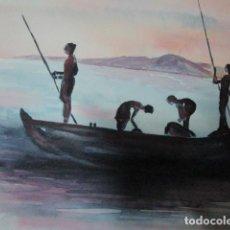 Varios objetos de Arte: PINURA ORIGINAL ACUARELA BARCO CON PESCADORES AFRICANOS. Lote 197083523