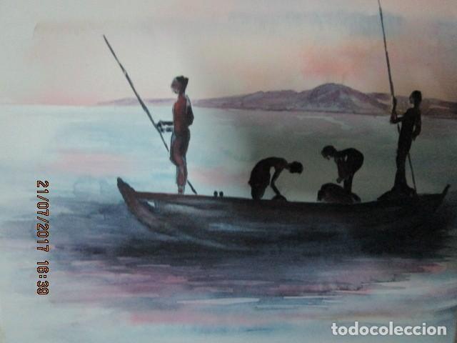 Varios objetos de Arte: PINURA ORIGINAL ACUARELA barco con pescadores africanos - Foto 2 - 197083523