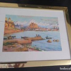 Varios objetos de Arte: CUADRO GRABADO PALMA DE MALLORCA DESDE SANTA CATALINA, CIUDAD Y CATEDRAL. Lote 197803865