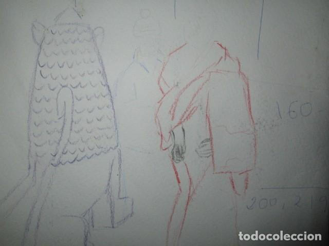 Varios objetos de Arte: ANIGUA ACUARELA GRANDE CIGUEÑAS EN CAMPANARIO FIRMADA TIENE UN DIBUJO EN REVERSO - Foto 3 - 197936277