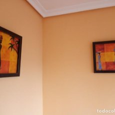 Varios objetos de Arte: DUO CUADROS LITOGRAFIA NAIF AFRICA. Lote 198104128