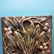 Arte: HOJAS. J. & J. G.LOW. PATENT ART TILE WORKS. MASS U.S.A 1884. EN CERÁMICA. MEDIDAS 15*15 CM. . Lote 199634432