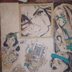 Varios objetos de Arte: PIROGRABADO PIROGRAFÍA PIN UP POP ART MADERA CONGLOMERADA DIBUJOS CHICAS DOS CARAS GRAFITII. Lote 199783355