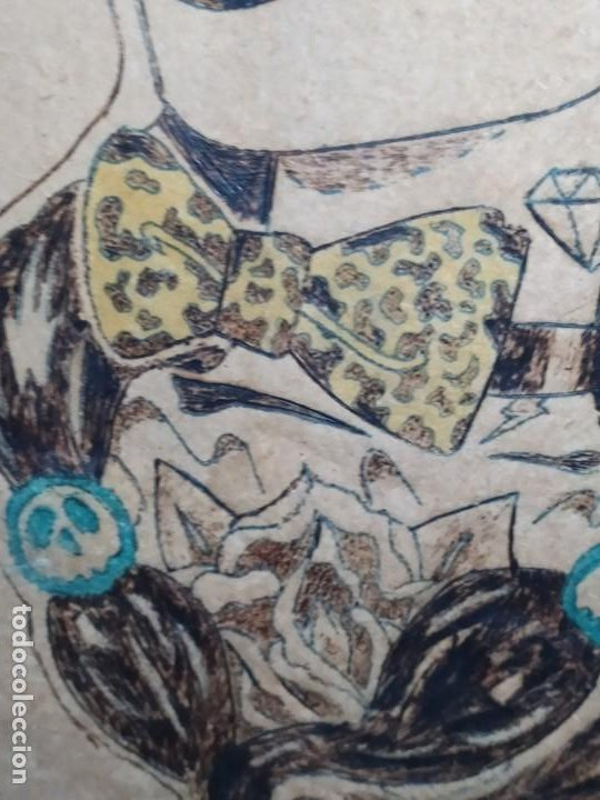 Varios objetos de Arte: PIROGRABADO PIROGRAFÍA PIN UP POP ART MADERA CONGLOMERADA DIBUJOS CHICAS DOS CARAS GRAFITII - Foto 3 - 199783355