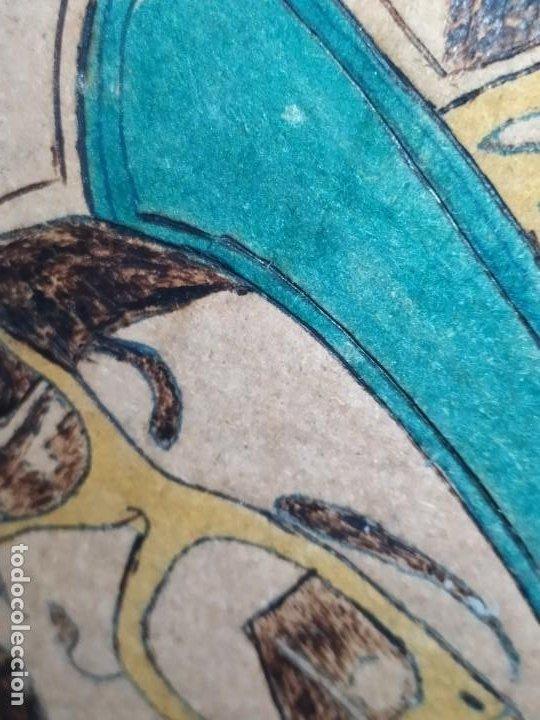 Varios objetos de Arte: PIROGRABADO PIROGRAFÍA PIN UP POP ART MADERA CONGLOMERADA DIBUJOS CHICAS DOS CARAS GRAFITII - Foto 4 - 199783355