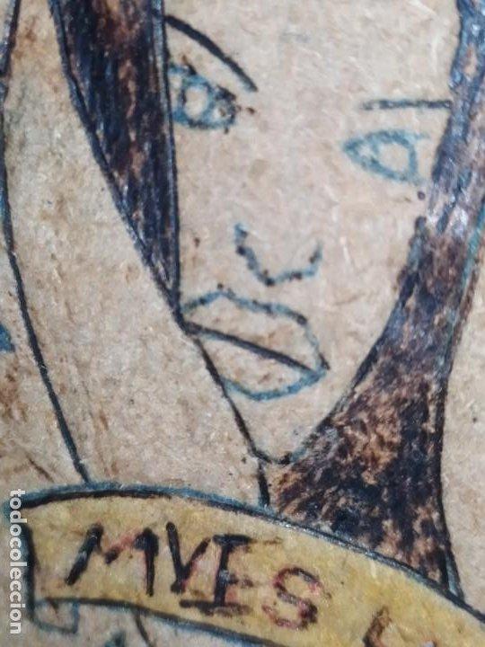 Varios objetos de Arte: PIROGRABADO PIROGRAFÍA PIN UP POP ART MADERA CONGLOMERADA DIBUJOS CHICAS DOS CARAS GRAFITII - Foto 5 - 199783355