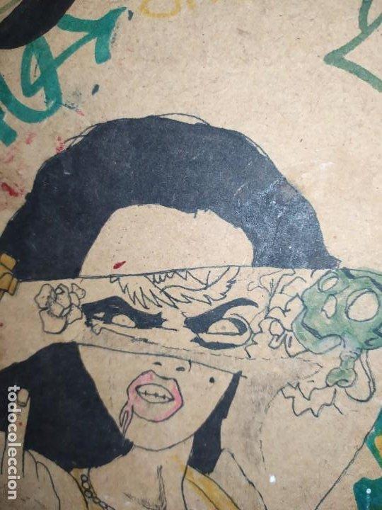 Varios objetos de Arte: PIROGRABADO PIROGRAFÍA PIN UP POP ART MADERA CONGLOMERADA DIBUJOS CHICAS DOS CARAS GRAFITII - Foto 9 - 199783355