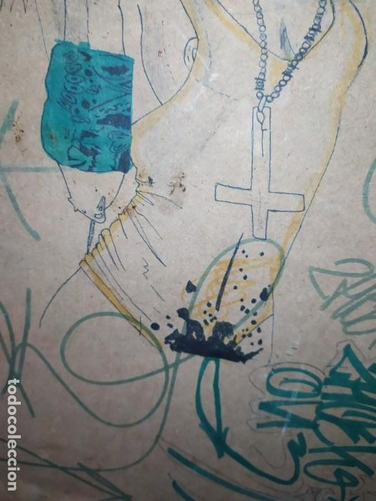 Varios objetos de Arte: PIROGRABADO PIROGRAFÍA PIN UP POP ART MADERA CONGLOMERADA DIBUJOS CHICAS DOS CARAS GRAFITII - Foto 11 - 199783355