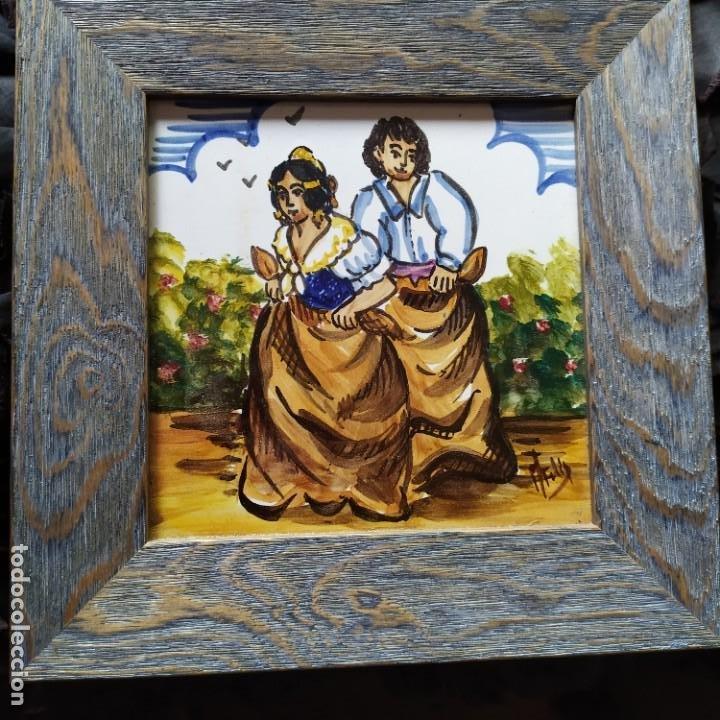AZULEJO ESCENA VALENCIANA VALENCIANO FIRMADO ILEGIBLE ENMARCADO PRECIOSO MADE IN SPAIN ILEGIBLE (Arte - Varios Objetos de Arte)