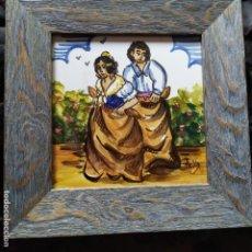 Varios objetos de Arte: AZULEJO ESCENA VALENCIANA VALENCIANO FIRMADO ILEGIBLE ENMARCADO PRECIOSO MADE IN SPAIN ILEGIBLE. Lote 201234511