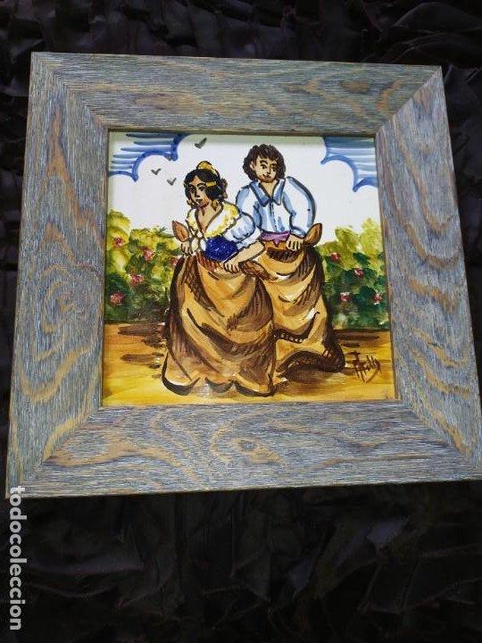 Varios objetos de Arte: AZULEJO ESCENA VALENCIANA VALENCIANO FIRMADO ILEGIBLE ENMARCADO PRECIOSO MADE IN SPAIN ILEGIBLE - Foto 4 - 201234511