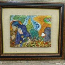 Varios objetos de Arte: CUADRO DE COBRE ESMALTADO EN UN MARCO DE MADERA. Lote 202101481