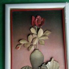 Varios objetos de Arte: CUADRO CON FLOR EN RELIEVE FIRMADA POR ELENA RIVERA. Lote 202373011