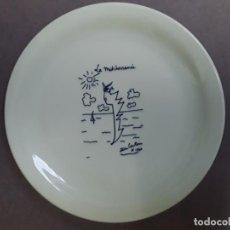 """Varios objetos de Arte: JEAN COCTEAU. PLATO """"LE MEDETIRRANÉE """". ETAPA 'OJOS DE PEZ'. 20 X 2 CM. FIRMADO Y FECHADO.. Lote 202598988"""