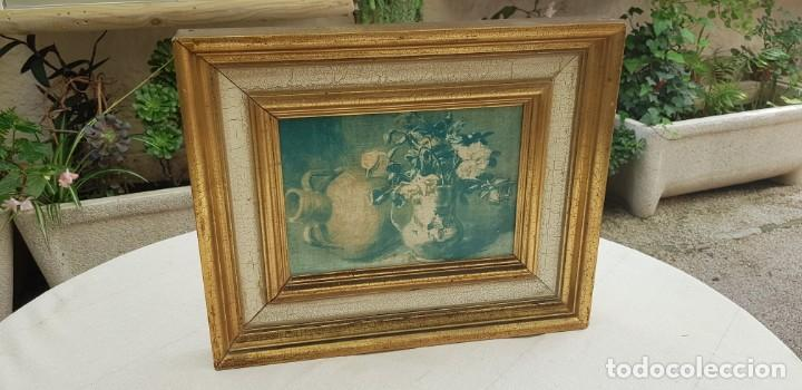 Varios objetos de Arte: ANTIGUO CUADRO BODEGON CON MARCO EN MADERA COLOR OCRE Y BLANCO ROTO - Foto 2 - 202662088