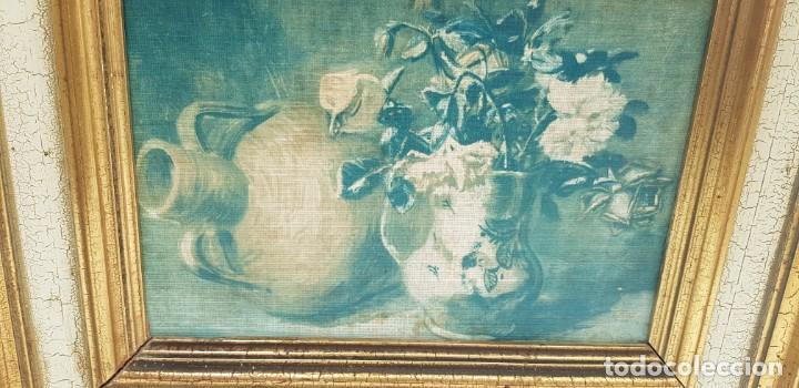 Varios objetos de Arte: ANTIGUO CUADRO BODEGON CON MARCO EN MADERA COLOR OCRE Y BLANCO ROTO - Foto 3 - 202662088