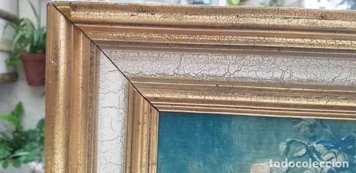 Varios objetos de Arte: ANTIGUO CUADRO BODEGON CON MARCO EN MADERA COLOR OCRE Y BLANCO ROTO - Foto 4 - 202662088