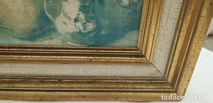 Varios objetos de Arte: ANTIGUO CUADRO BODEGON CON MARCO EN MADERA COLOR OCRE Y BLANCO ROTO - Foto 5 - 202662088