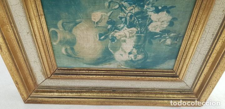 Varios objetos de Arte: ANTIGUO CUADRO BODEGON CON MARCO EN MADERA COLOR OCRE Y BLANCO ROTO - Foto 6 - 202662088