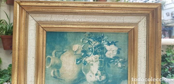 Varios objetos de Arte: ANTIGUO CUADRO BODEGON CON MARCO EN MADERA COLOR OCRE Y BLANCO ROTO - Foto 7 - 202662088