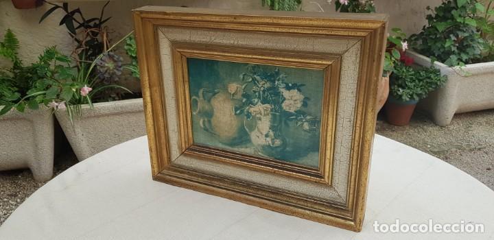 Varios objetos de Arte: ANTIGUO CUADRO BODEGON CON MARCO EN MADERA COLOR OCRE Y BLANCO ROTO - Foto 11 - 202662088