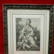 Varios objetos de Arte: LA CARIDAD DE ANDREA DEL SARTO MUSEO DEL LOUVRE GRABADO 1876 MONTAJE CUADRO. Lote 203210843