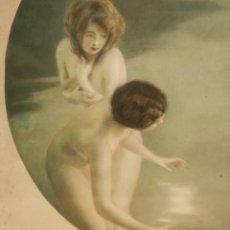 Varios objetos de Arte: EXCELENTE LITOGRAFIA MODERNISTA, ART NOUVEAU, DE PAUL E. CHABAS, PECHEUSES DE LUNE, C. 1910. Lote 203916601