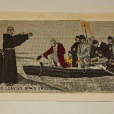 Arte: JACQUARD. REPRESENTACION EN SEDA DE COLOR DE LA SALIDA DE ESPAÑA DE COLON EL AÑO 1492. BUEN ESTADO. Lote 203950780