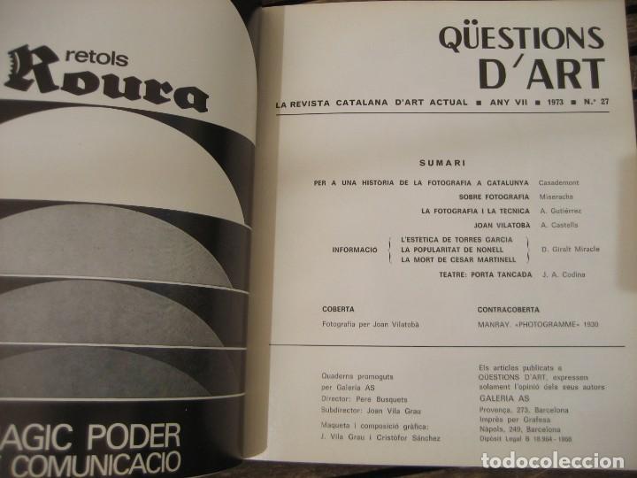 Varios objetos de Arte: revista catalana qüestions dart - arte nº 27 1973 fotografia a catalunya miserachs - vilatoba - Foto 2 - 204001350