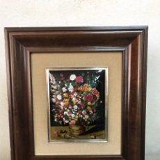Varios objetos de Arte: PINTURA ESMALTADA DE BOUQUET DE FLORES. Lote 204252880