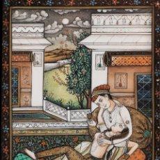 Varios objetos de Arte: BONITA PLACA DE MARFIL PINTADA A MANO DE ESCENA DEL EMPERADOR Y EMPERATRIZ. RAJASTAN, S. XX. Lote 204330810