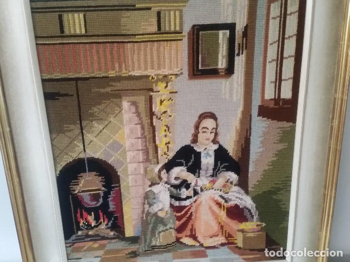 Varios objetos de Arte: ANTIGUIO CUADRO ANOS 30,40 HECHO A PUNTO DE CRUZ EL MARCO EM MADEIRA PINTADO POLVO ORO - Foto 4 - 205451775