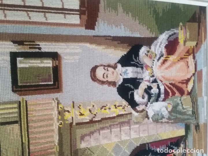 Varios objetos de Arte: ANTIGUIO CUADRO ANOS 30,40 HECHO A PUNTO DE CRUZ EL MARCO EM MADEIRA PINTADO POLVO ORO - Foto 9 - 205451775