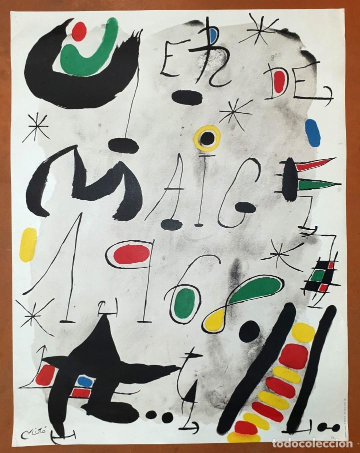 """Varios objetos de Arte: CARTEL LITOGRAFICO DE JOAN MIRO """"1ER DE MAIG 1968"""", IMPRENTA CASAMAJÓ, BARCELONA 1968 - Foto 2 - 205458497"""