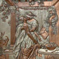 Varios objetos de Arte: PRECIOSO PLAFON EN COBRE MARTELEADO DE PRINCIPIOS DEL SIGLO XX. ESCENA ROMANTICA. AUTOR ANONIMO. Lote 205539232