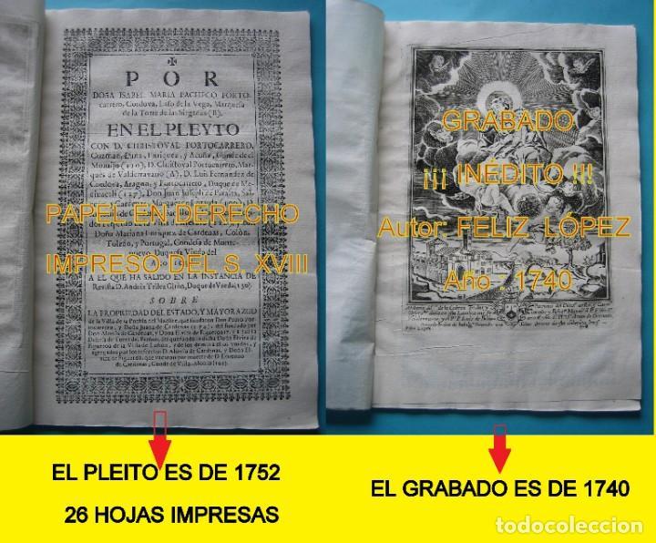IMPRESO - PLEITO FAMILIA DE LOS PORTOCARRERO SOBRE MAYORAZGO PUEBLA MAESTRE 1752 CON GRABADO DE 1740 (Arte - Varios Objetos de Arte)