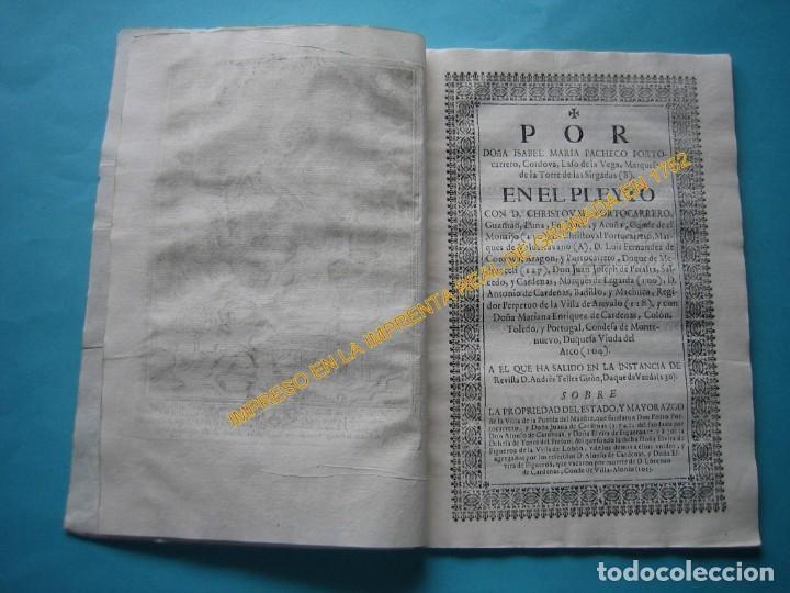 Varios objetos de Arte: IMPRESO - PLEITO FAMILIA DE LOS PORTOCARRERO SOBRE MAYORAZGO PUEBLA MAESTRE 1752 CON GRABADO DE 1740 - Foto 6 - 205724286